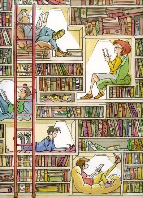 Reading between the books / Leyendo entre libros (autor desconocido)