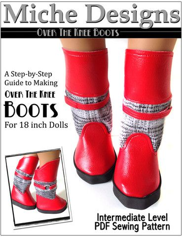 Over The Knee Boots 18 inch Doll Shoes Boot Pattern PDF Download | Pixie Faire
