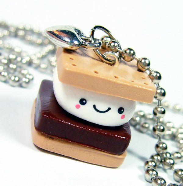 Polymer Clay Charm Kawaii Happy Smores Necklace - Miniature Food - Handmade by The Happy Acorn. $28.00, via Etsy.