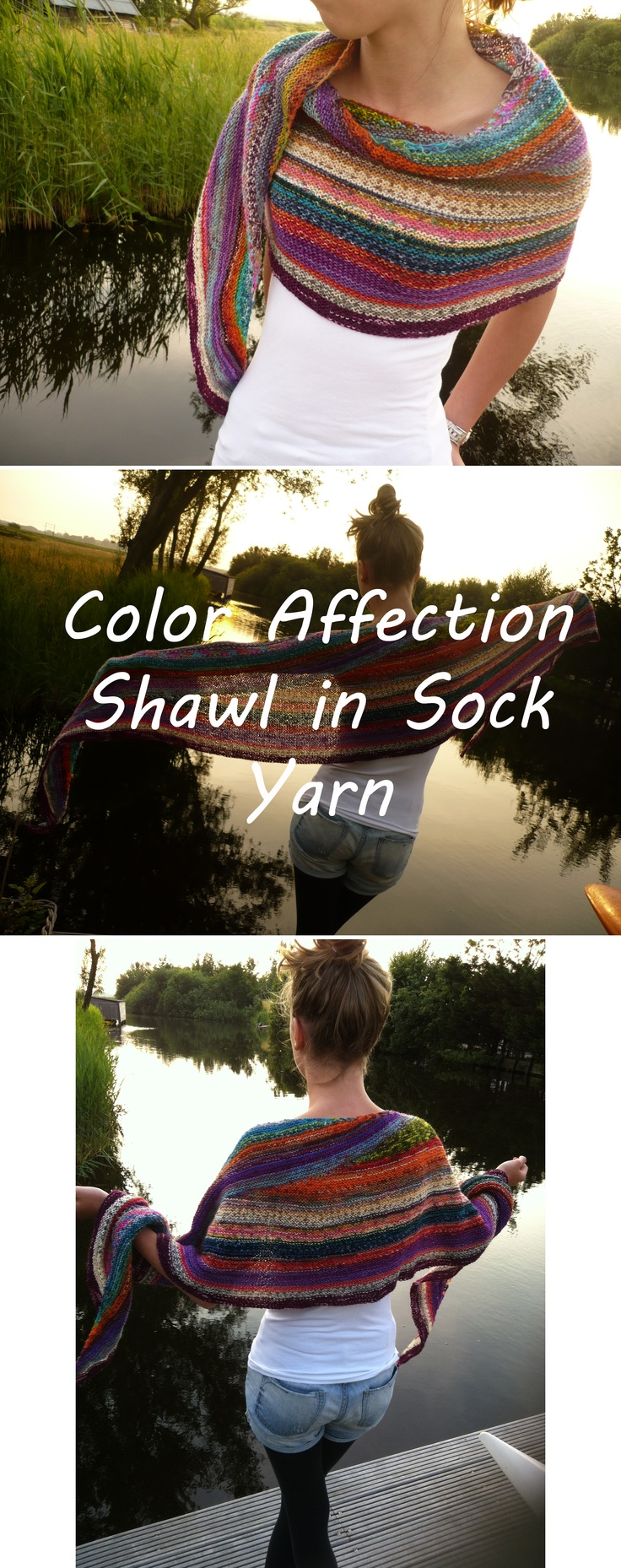 'Color Affection Shawl' using leftover sock yarn