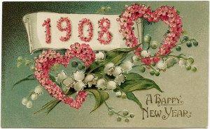 Victoriaanse New Year postcard, vintage bloemen illustraties, ouderwets New Years card, roze bloemen hart illustratie, vintage bloemprentbriefkaar grafische