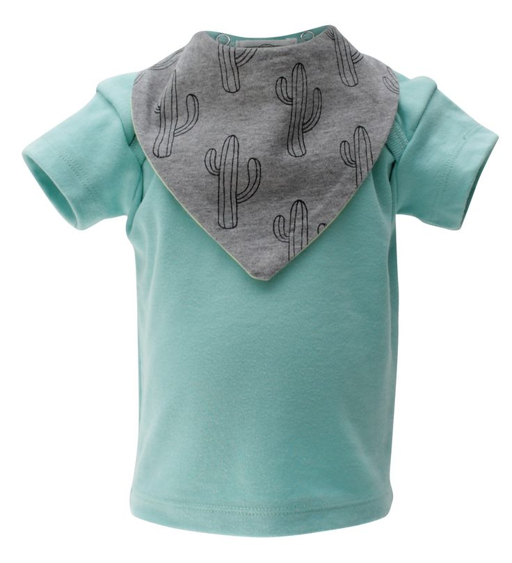 Soft cotton short sleeve t-shirt with two interchangeable bandana bibs.  Made of breathable stretch cotton, the t-shirt is designed for easy dressing. It comes with a set of two trendy unisex bandana bibs made of 100% soft cotton to protect your little drooler and teething baby.  These bibs are reversible so you can style them in four different ways. They come with two nickel-free snaps to be attached to the t-shirt. Your little one won't be able to pull these bibs off!