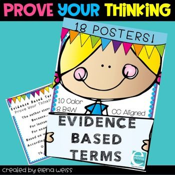 Great Posters for Evidence Based Terms! Encourage the use of Text Evidence. Common Core Aligned. A visual reminder for students to use details to prove their thinking while writing and speaking about the text. 18 posters in all! Also check out my other POSTERS **Did you know?*** You can get TPT credit to use on future purchases.