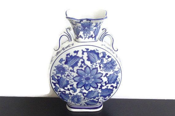 Blue and White Asian Flat Vase Seymour Mann China by RamblinRanch