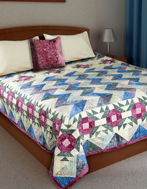 """Bed of Roses"" by Bev Getschel (from the June/July 2012 issue of The Quilter)"