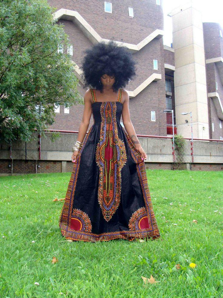 African Dashiki Print Maxi Dress L. $120.00, via Etsy.