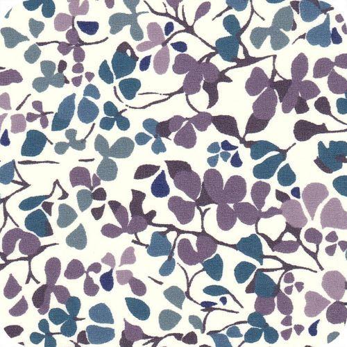 Liberty Nina Taylor bleu / violet - Jolies fleurs de bois de santal dessinées à la main.