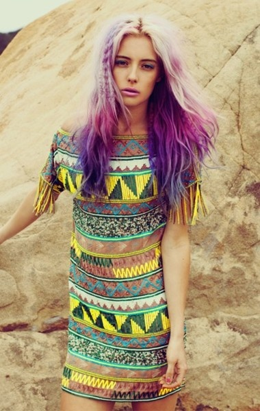 purple hair tribal dress
