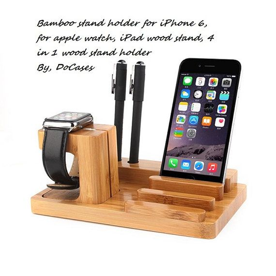 Wood Bamboo Apple Watch Ipad and Iphone Stand Charging by DoCases
