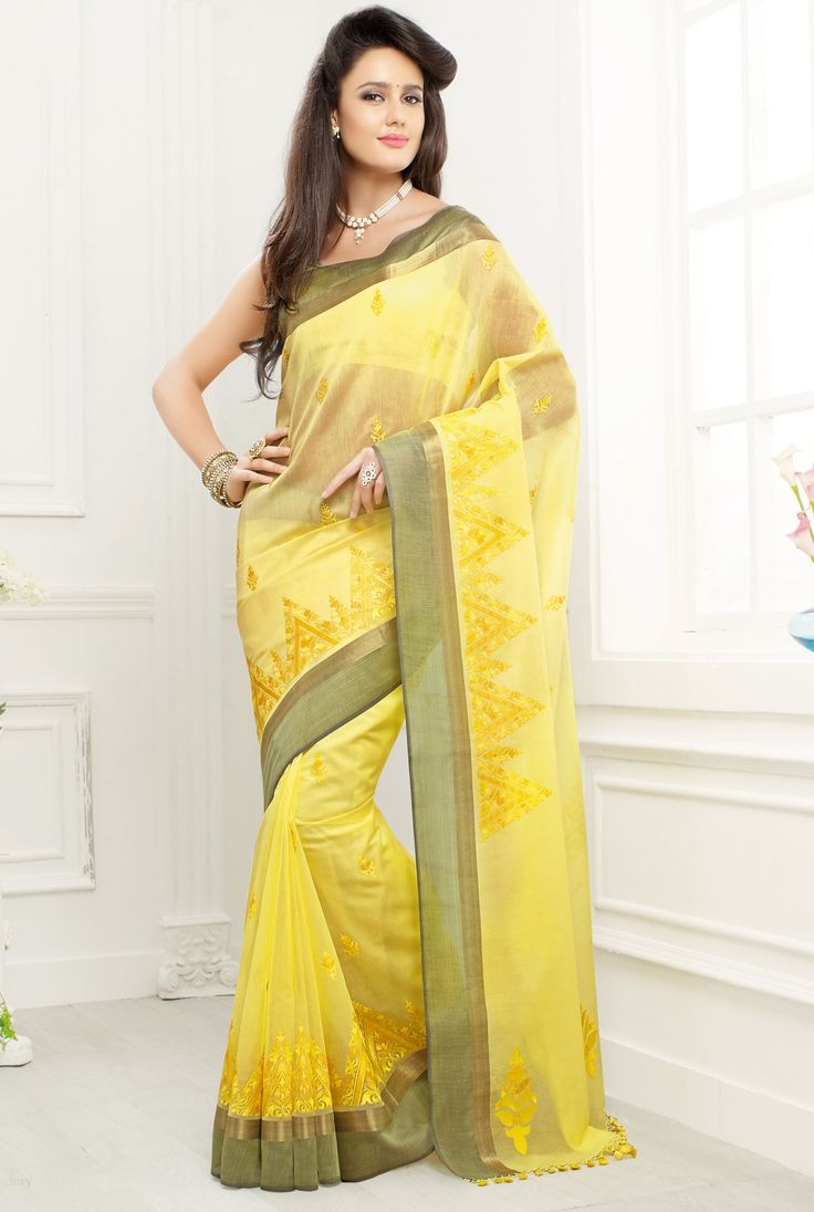 Yellow pure cotton silk charming saree with zari weaved pallu -SR10412  #Yellow #pure #cotton #silk #saree #charming #zari #pallu #newarrival #classy #glam #festive #casual #wedding #marriage #fashion #designer #latest #collection #Indian #classy #trendy #women #ladies #beautiful #lovely