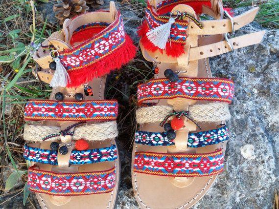 Boho sandal stylish bohemian Greek leather by Byhandtoheart