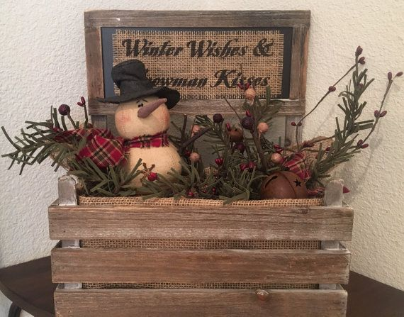 Primitive christmas honey and me winter wishes snowman