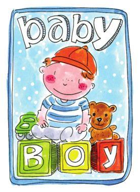 Een babyjongen op blokken met auto en teddybeer- Greetz