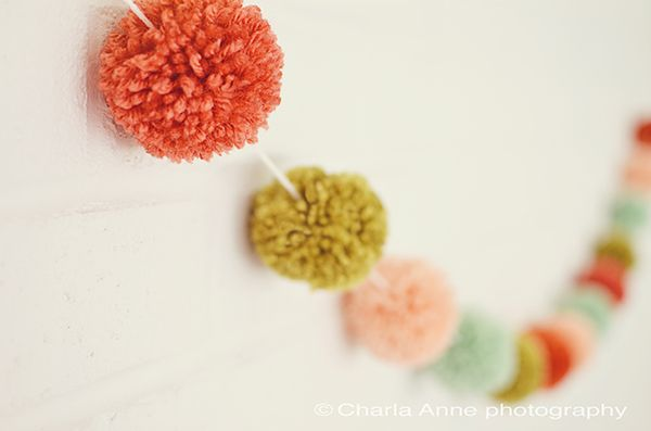 DIY idea: pom poms garland. I need to do this for the baby's room!
