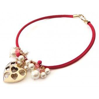 Collar con Piel Sintética, Perlas, Caucho Congelado y Dije de Corazón