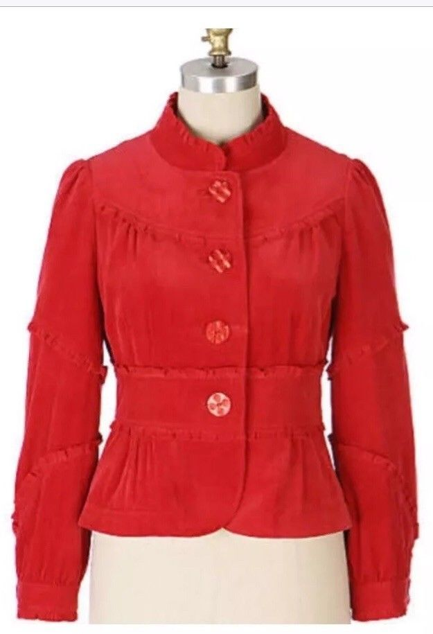 Anthropologie Elevenses Huff And Puff Red Corduroy Jacket Coat M 8  | eBay