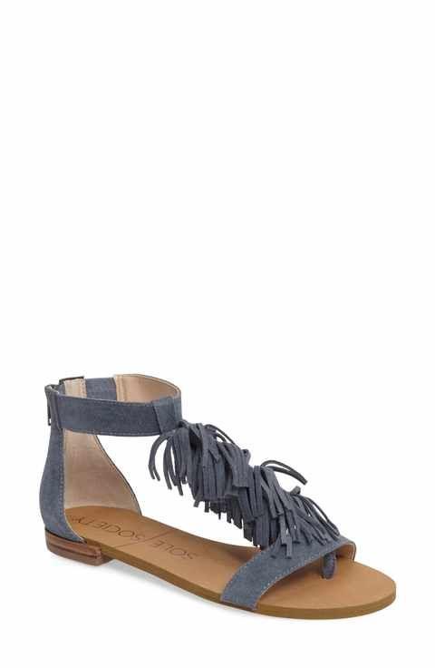 569b05b6ab1 Sole Society Koa Fringed T-Strap Sandal (Women)
