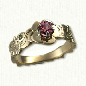 Great Yellow Gold Floral Engagement Ring set wit small stones on side of band and center Pink Tourmaline