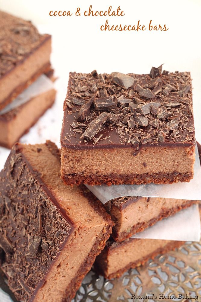 1 hour to make and bake, these chocolate cheesecake bars have chocolate goodness in every bite. Make them ahead, refrigerate and cut into ba...