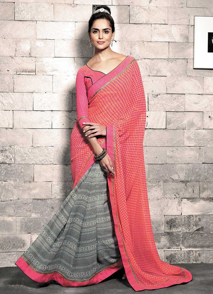 Gorgeous Off white N Pink Half N Half Saree