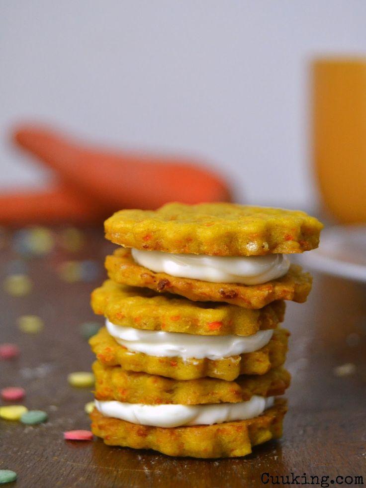 Cuuking! Recetas de cocina: Galletas de zanahoria rellenas de crema de queso