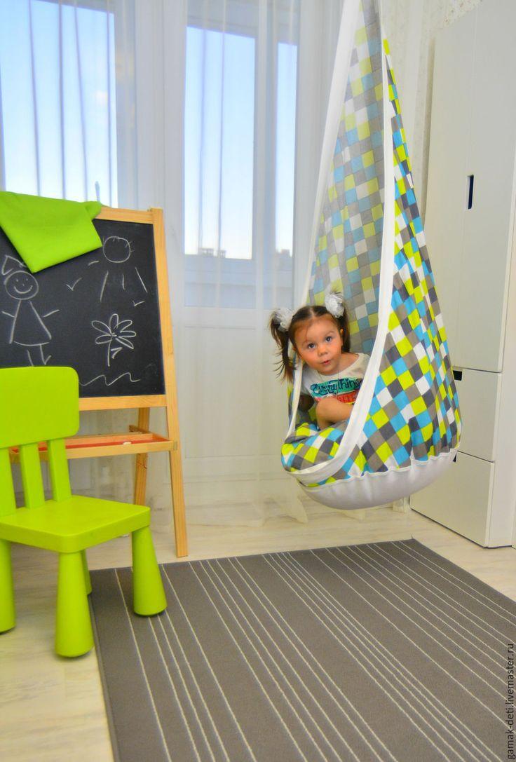 """hanging lounger / Купить подвесное кресло """"КОКОН Кубики"""" - комбинированный, кресло, подвесное кресло, гамак, кресло гамак"""