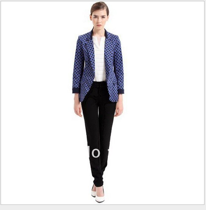 CT333 New Fashion Ladies' elegant classic Plaid print Blazer suit coat vogue casual slim outwear Brand designer tops 2 Colors US $24.42