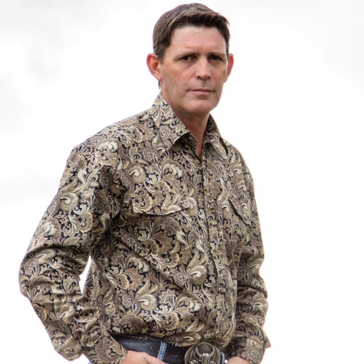 Mens Brown Cotton Paisley Shirt-8007-B - Brigalow