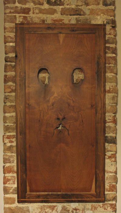 """what do you see?"": Doors Keys Knock, Faces, Knots, Doors Secret Gardens Archway, Knot Art, Wooden Doors, Entrance, Cool Doors, Isaac Hastings"