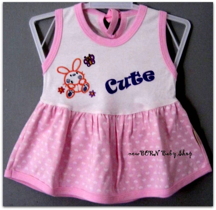Piteku Cute Bunny Baby Dress    Age : 3-6 months  Material : Cotton/Katun  Colour : Pink, Blue, & Green