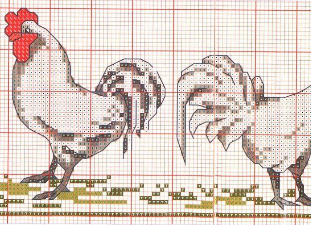 """Милые сердцу штучки: Вышивка крестом: """"Петухи и куры"""" (кухонные полотенца)"""