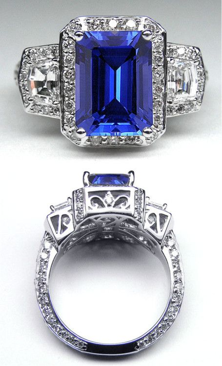 Emerald Cut Blue Sapphire Vintage Design Halo Ring with trapezoids side stones in AMAZING setting.  Not much for fancy jewelry, but this is gorgeous!!