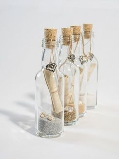 "Message in bottle style ""save the date"", wedding favours and wedding invitations"