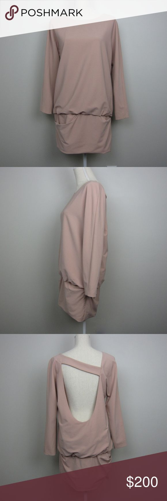 """Jay Ahr for Intermix blush dress Jay Ahr for Intermix blush pink, long dolman sleeve, open back dress. Oversized torso, dropped waist, ruching and fitted at leg. Pullover style. 70% acetate, 30 polyester, lined.  No holes, pilling, fading, small marks, pictured.  Approx. measurements, taken while garment lying flat: Bust: 20"""" Length: 32"""" (from shoulders) Width at bottom: 17.5""""  Offers always welcome :) Jay Ahr Dresses"""