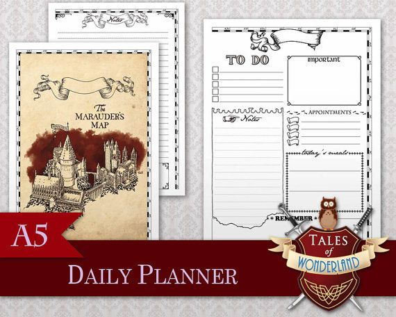 Mischief Managed Filofax/Planner A5 printable Daily Planner by Tales of Wonderland, inspired by Harry Potter
