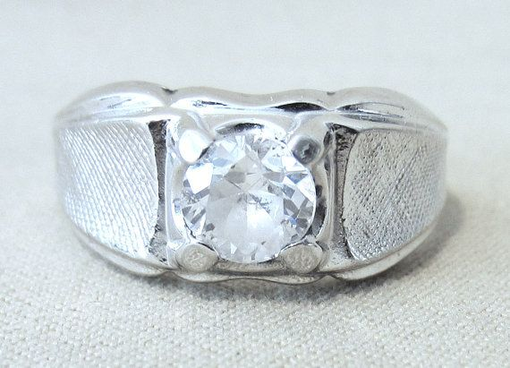 Men's Mid-Century Solitaire Sterling Silver & CZ Ring