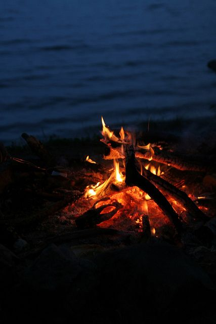 camp fire at the lake