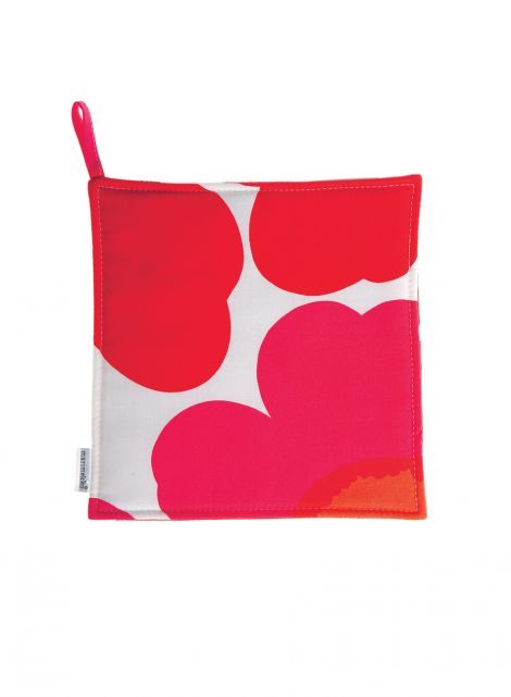 Pieni Unikko -pannulappu (valkoinen, punainen) |Sisustustuotteet, Keittiö, Tekstiilit, Patalaput | Marimekko 9,50€