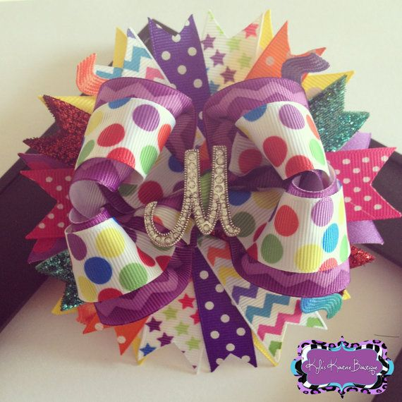 Splash of Color Bling Initial OTT Bow- Colorful Boutique Bow on Etsy, $12.00