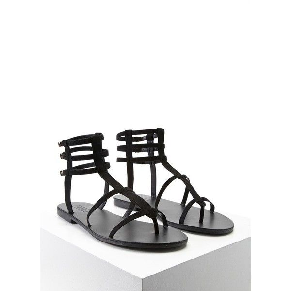 Forever21 Faux Suede Gladiator Sandals ($18) ❤ liked on Polyvore featuring shoes, sandals, black, black flats, black shoes, black gladiator sandals, black buckle sandals and flat pumps