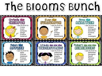 The Blooms Bunch: Kid-Friendly Revised Bloom's Taxonomy Posters. This printable set costs $5 on TPT. So cute!