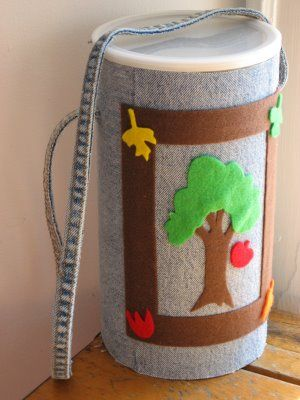 recover oatmeal canisters for storage or this one is for a child to store leaves and rocks on nature walks!  :)