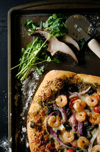 shrimp, pesto & mushroom pizza.  @Alyssa Frederick can we add this to wine and food might?!