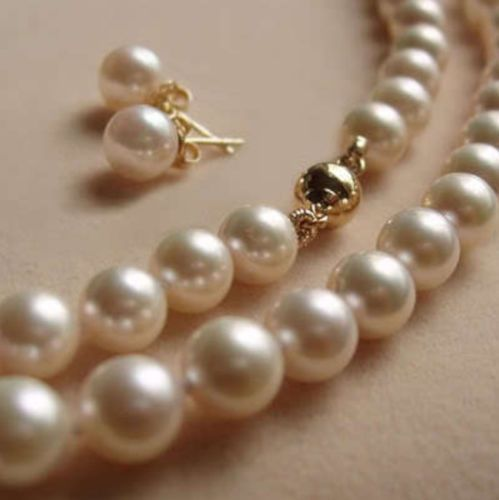 """8MM White Akoya shell Pearl Necklace +Earring AAA 18""""AARW #Unbranded"""