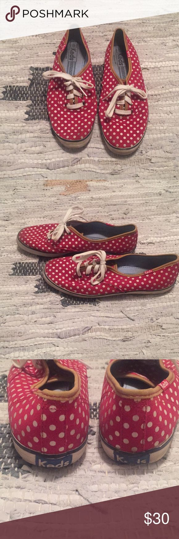 SALE! 💕Red, Polka Dot Keds💕 Red, polka dot meds with tan, leather accents. Good condition. Worn a few times but haven't worn in years so selling. A slight bit of wear on toe and on back Keds symbols. Keds Shoes Sneakers