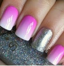 Light pink ombré with a silver cost on the accent or ring finger.