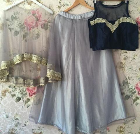 Awesome Designer Cape Style Grey Lehenga Choli ,Indian Dresses - 2