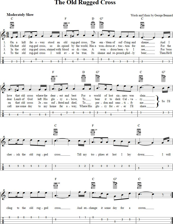 The Old Rugged Cross Mandolin Tab