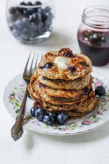 Flourless Banana, Blueberry, Coconut Pancakes