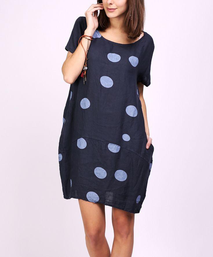 Ornella Paris Navy Dot Pocket Shift Dress - Women & Plus | zulily